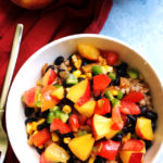 Summer Bliss Farro Bowls with Peach Jalapeno Salsa
