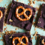 Chocolate Caramel Pretzel Shortbread Bars
