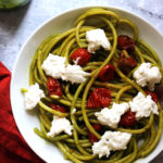 Roasted Tomato Bucatini with Burrata and Basil Vinaigrette