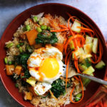 Butternut Squash and Edamame Bibimbap with Spicy Gochujang Sauce