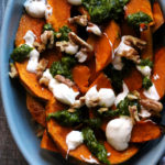 Roasted Squash with Yogurt, Walnuts, and Spiced Green Sauce