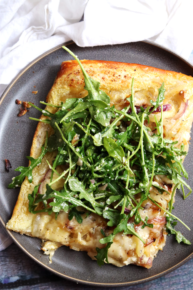Cheesy Onion Tart with Arugula, Pecorino, and Walnut Salad