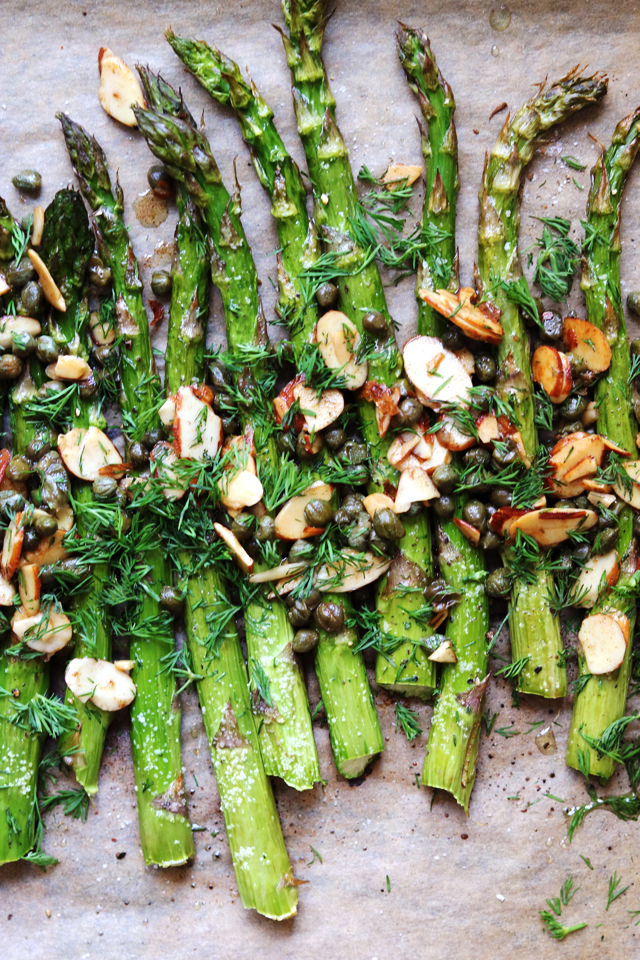 Roasted Asparagus with Buttered Almonds, Capers, and Dill
