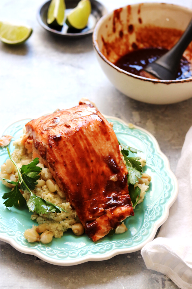 Roasted Sweet Chipotle Salmon with Creamed Hominy