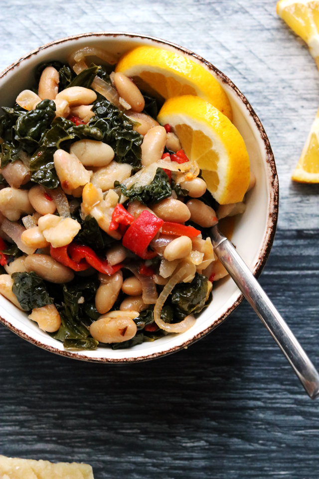 Sunny Cannellini Bean Salad with Roasted Red Peppers and Kale
