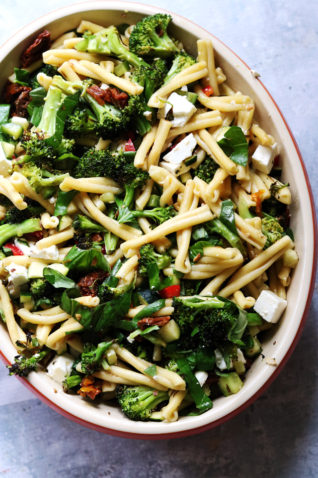 Greek Pasta Salad with Roasted Broccoli, Feta, and Lemon Vinaigrette
