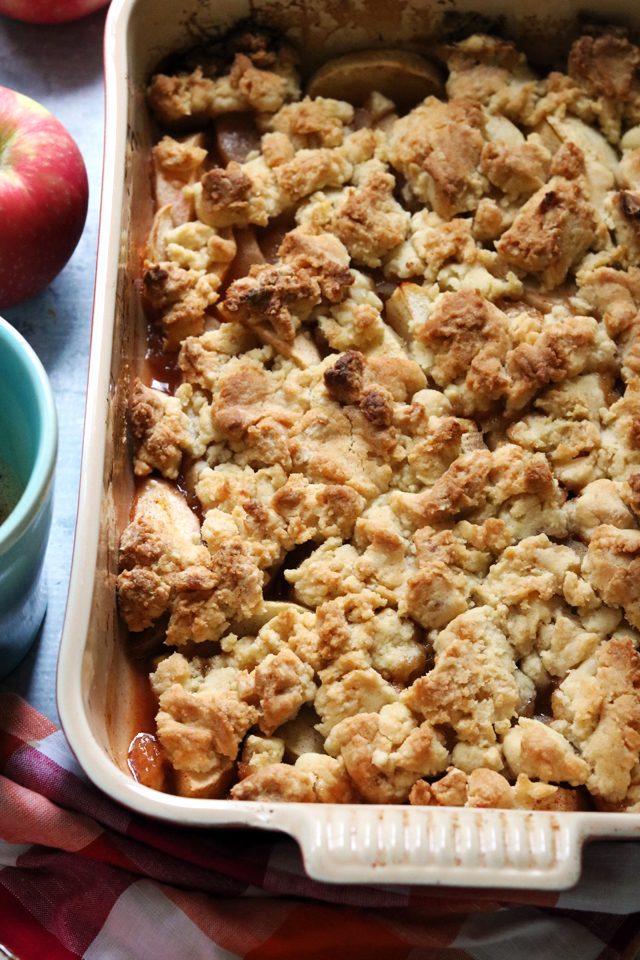 cozy apple bake with double ginger cookie crumble