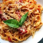 Homemade Fettuccine with Easy Tomato-Basil Sauce