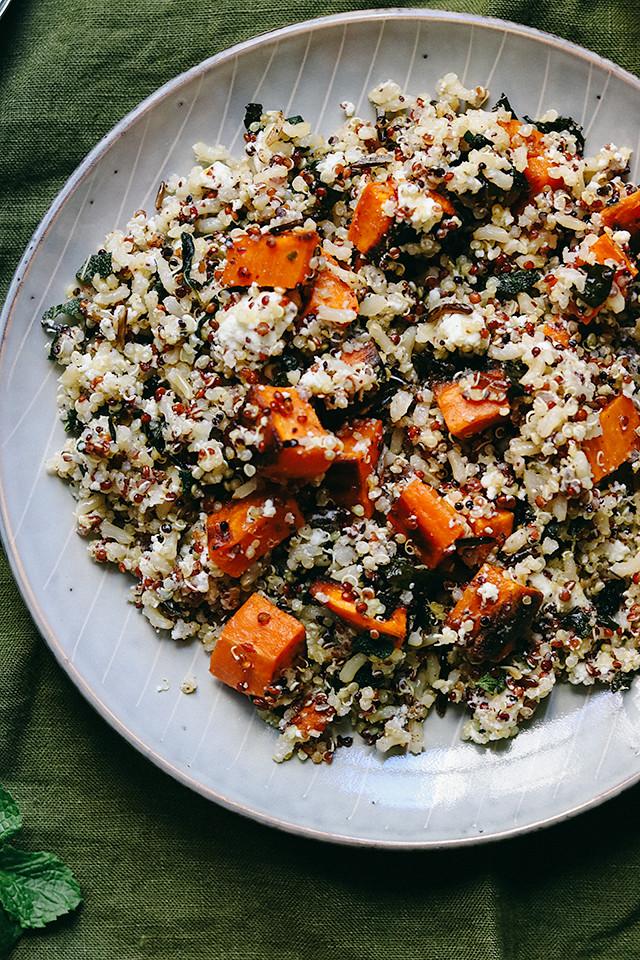 Quinoa and Wild Rice Salad with Sweet Potatoes, Feta, and Sumac
