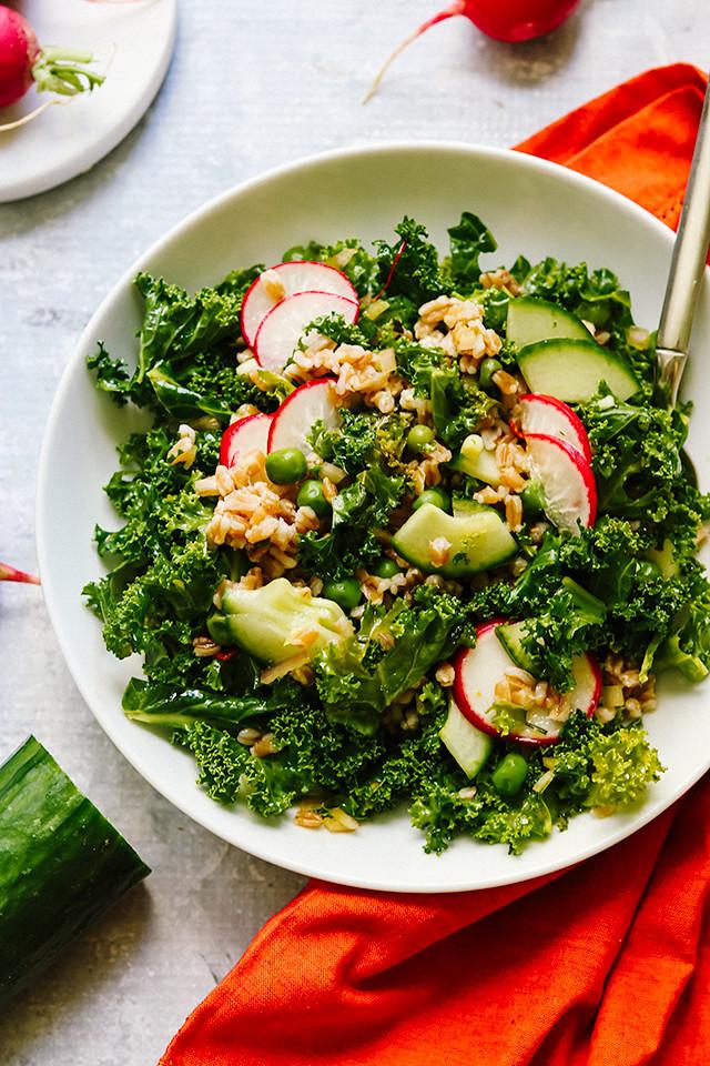 Farro and Kale Salad with Saffron Vinaigrette