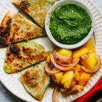 Garlic Scape Pesto Quesadillas with Spicy Mango Salad