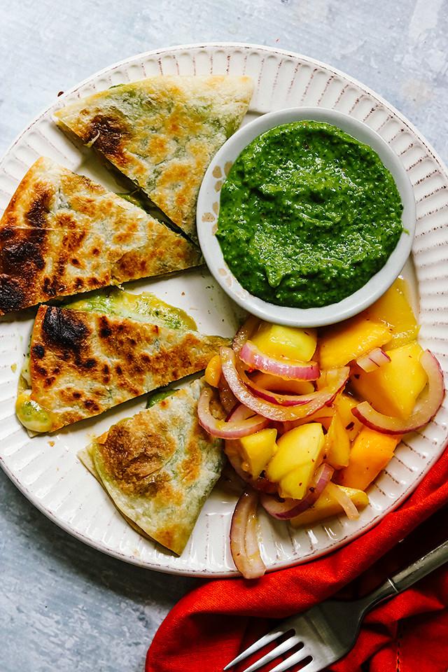 Garlic Scape Pesto Quesadillas with Spicy Mango Salad
