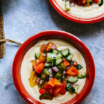 Hummus Soup with Heirloom Tomato Salsa