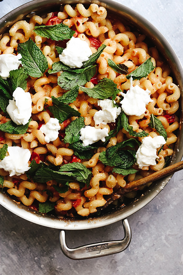 Pasta with Cherry Tomatoes, Mint, and Burrata