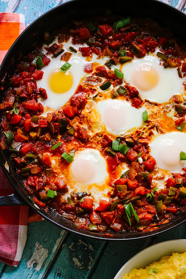 Cajun Eggs in Purgatory with Cheddar-Scallion Grits