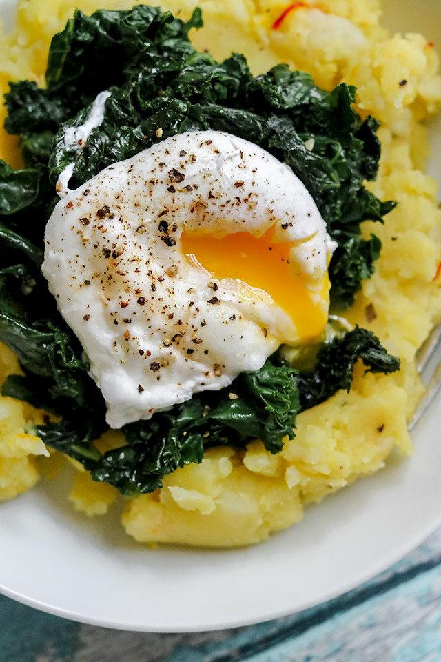 Golden Saffron Mashed Potatoes with Hearty Greens and a Poached Egg