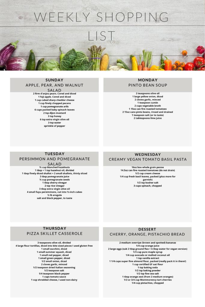 Vegetarian weekly shopping list