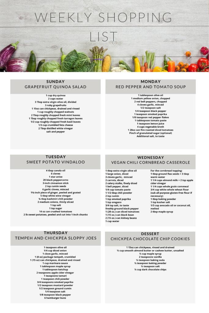 Healthy vegetarian meal plan week 1 shopping list