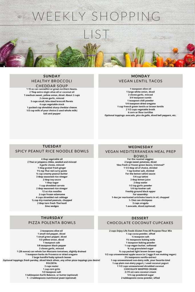 Vegetarian meal plan week 4 weekly shopping list