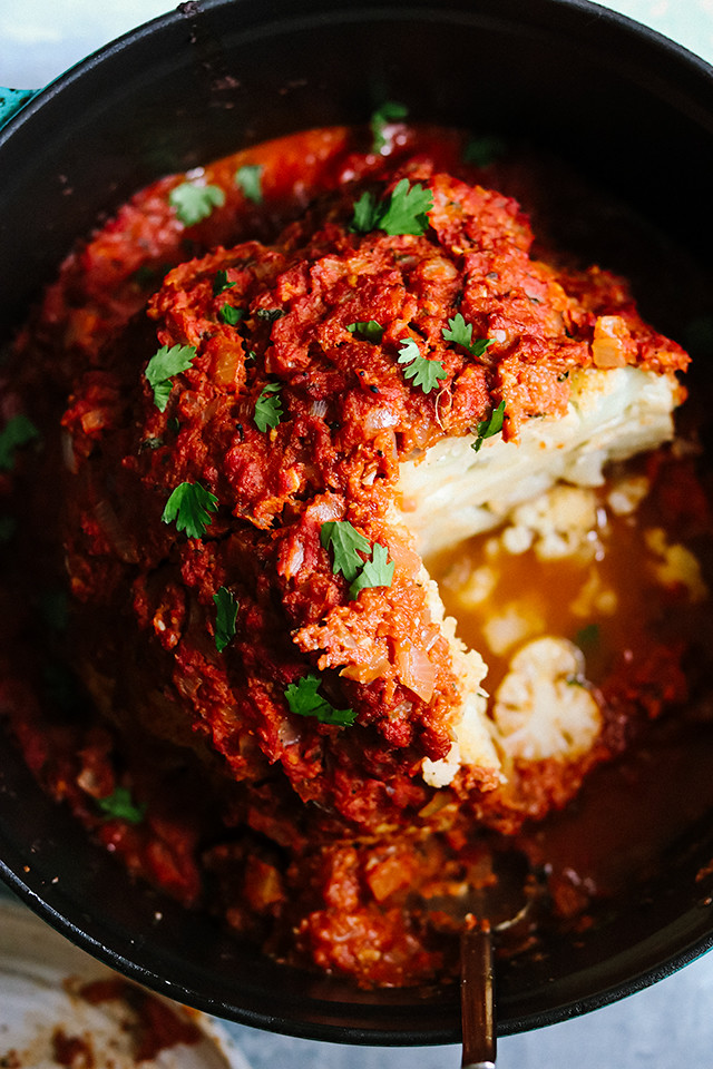 Whole Roasted Cauliflower with Spicy Tomato Masala Sauce