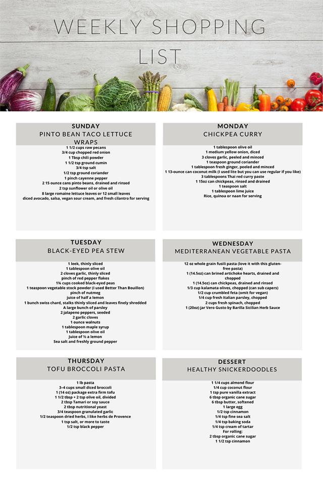Vegetarian meal plan weekly shopping list