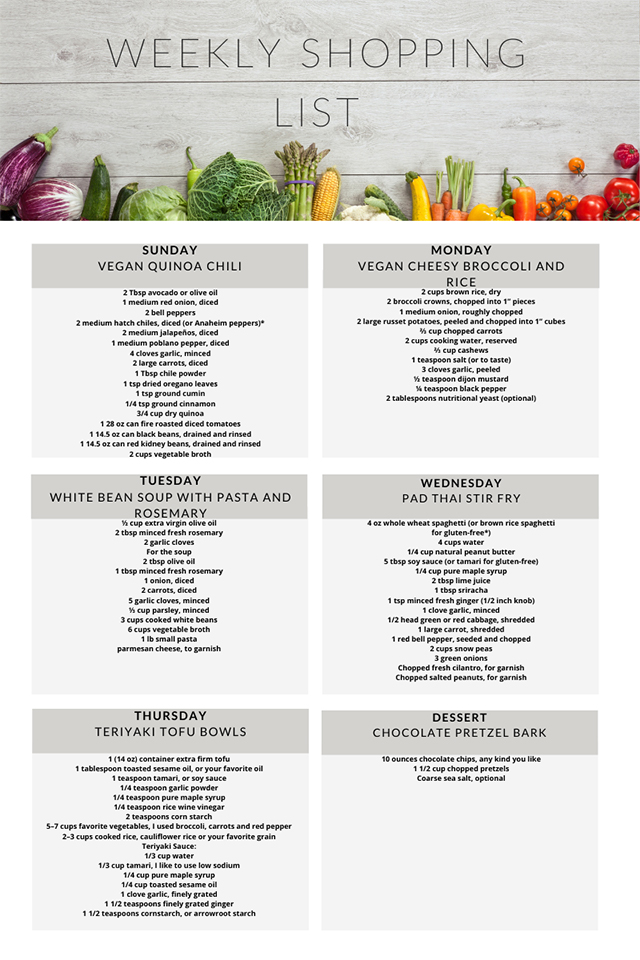 Vegetarian meal plan weekly shopping list week 9