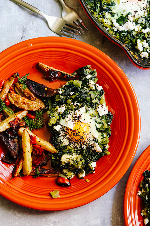Baked Eggs with Spinach, Leeks, and Feta