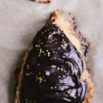 Banana Bread Scones with Chocolate Tahini Frosting