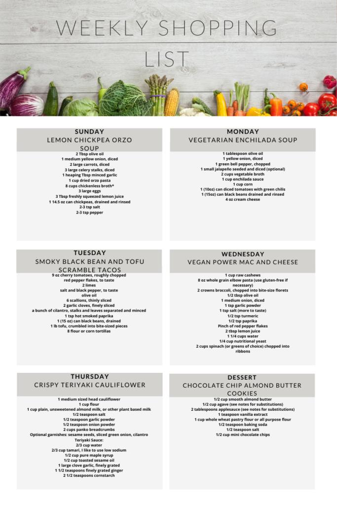 Vegetarian meal plan week 11 shopping list