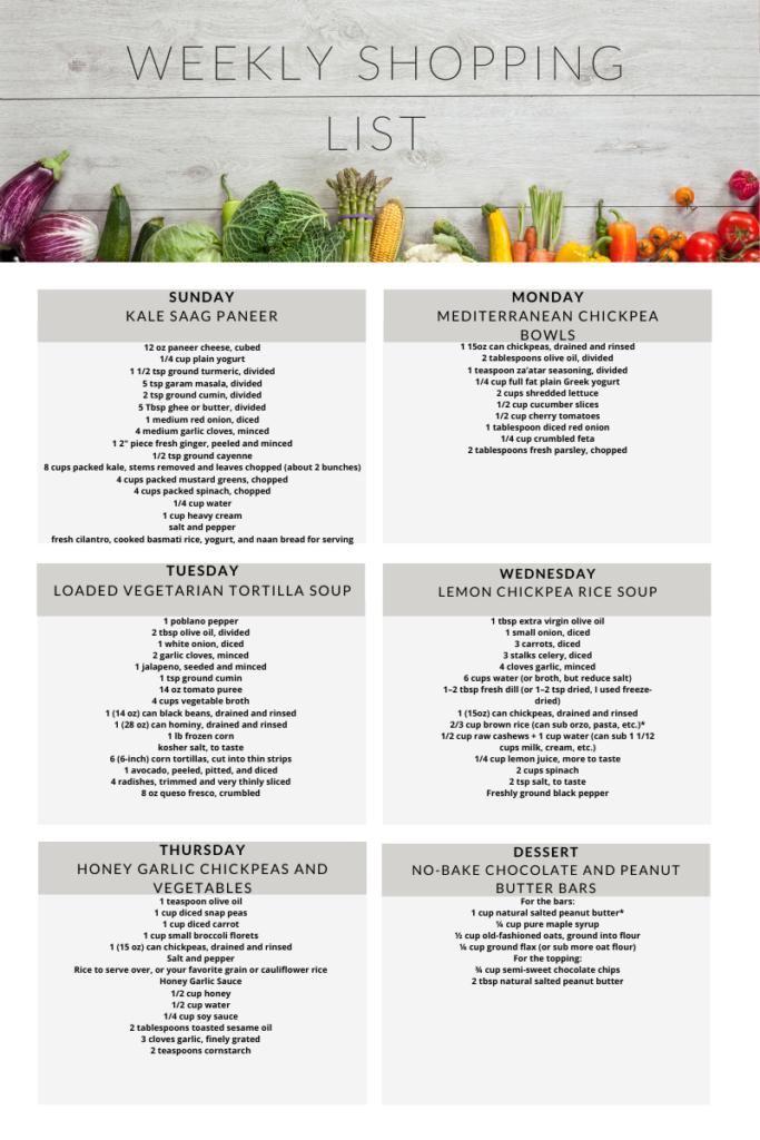 Weekly shopping list vegetarian meal plan week 13