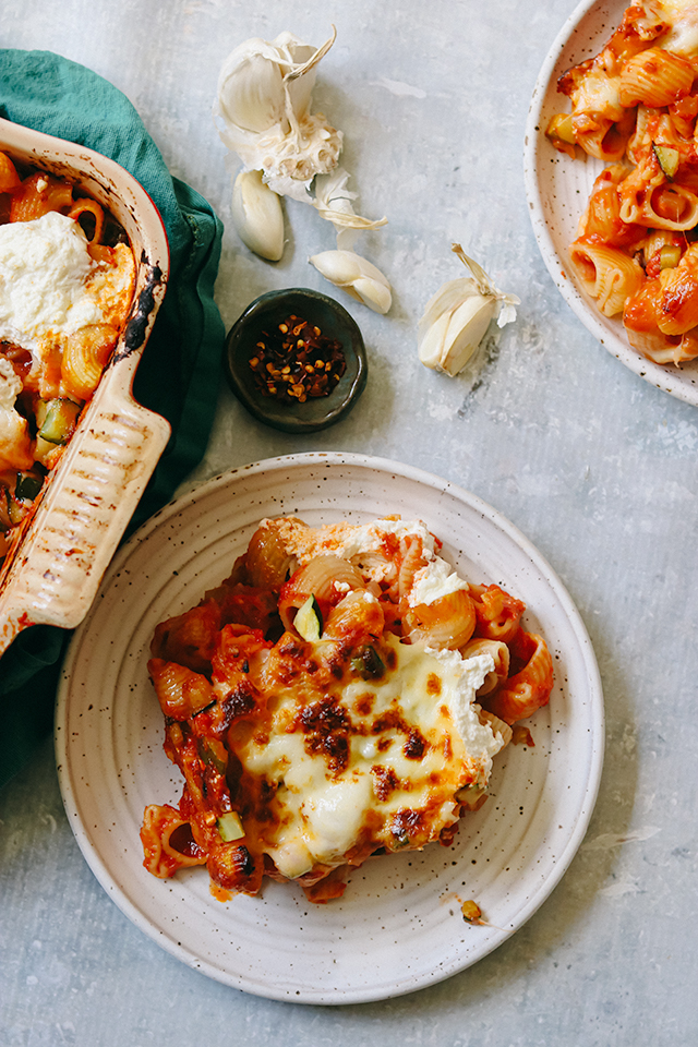 Cheesy Baked Zucchini Pasta al Pomodoro