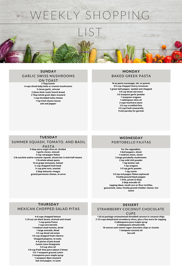 Vegetarian meal plan weekly shopping list April