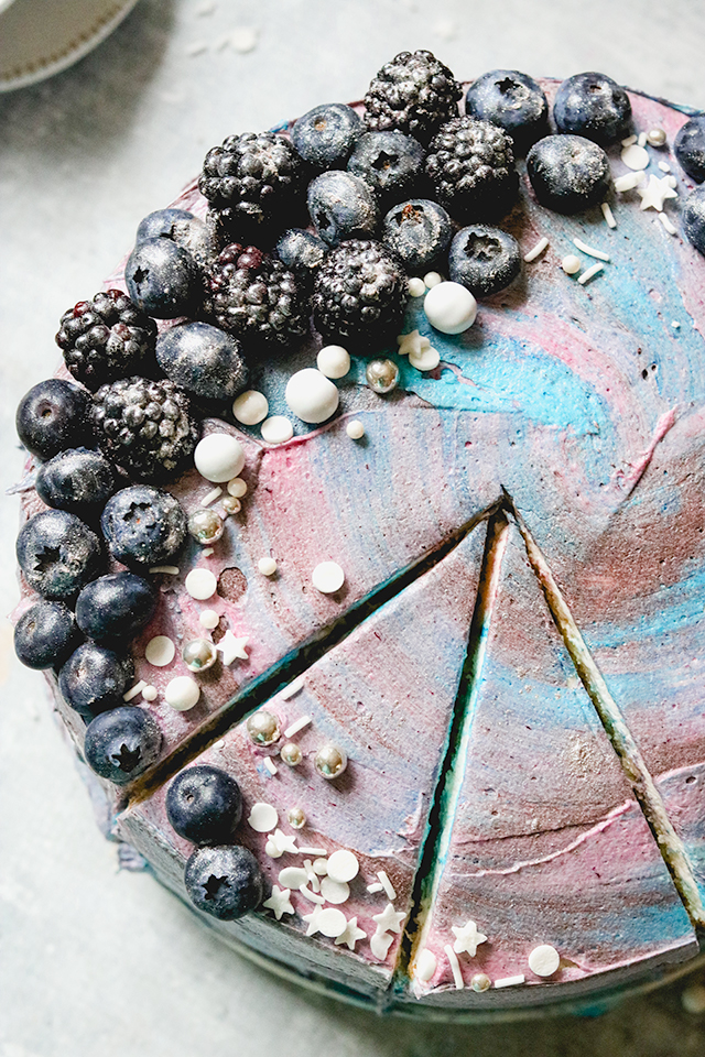 Blueberry Galaxy Cake {Lemon Layer Cake with Blueberry Buttercream}