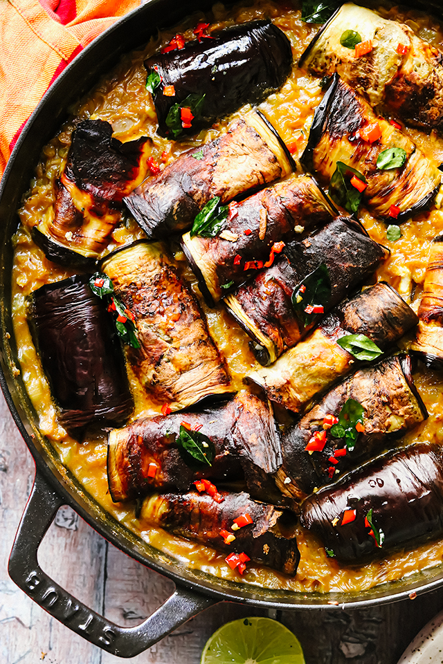 Stuffed Eggplant in Curry and Coconut Dal