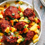 Chipotle Honey BBQ Cauliflower Wings with Mango Salsa and Coconut Rice