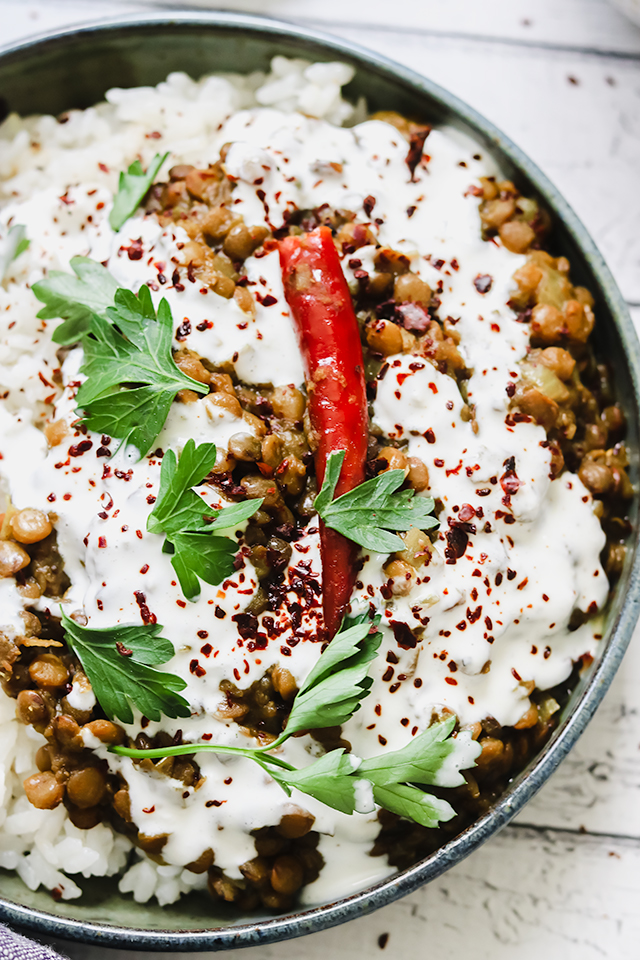 Curried Lentils with Garlicky Yogurt and Coconut Rice