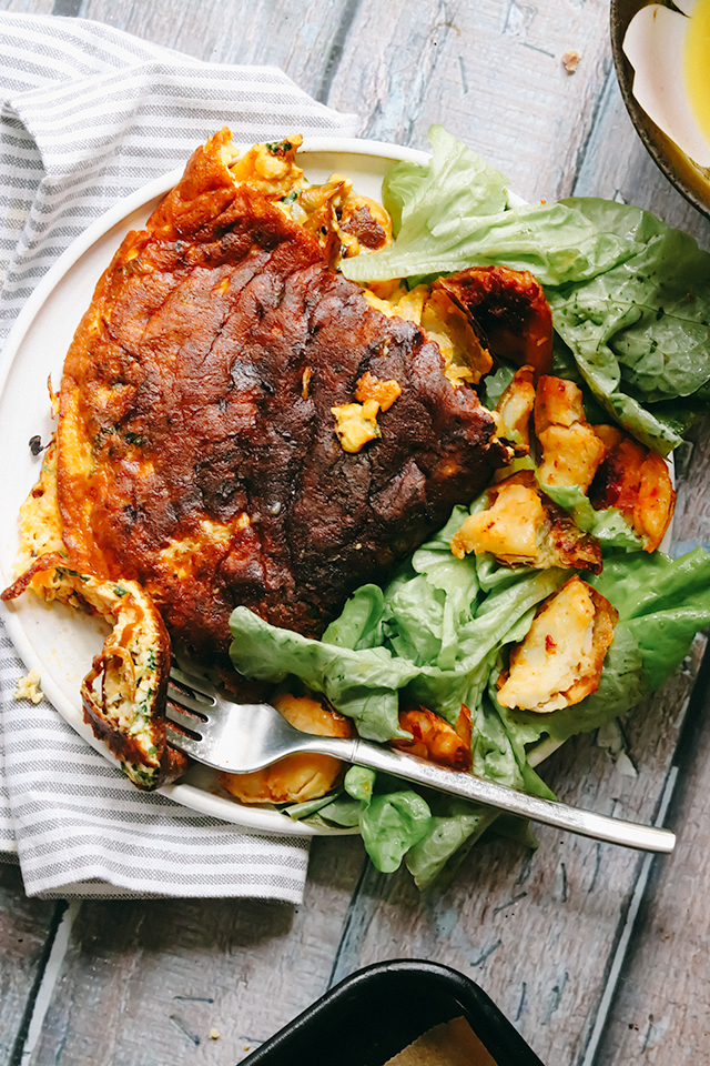 Harissa and Manchego Omelets with Harissa-Baked Potato Skins