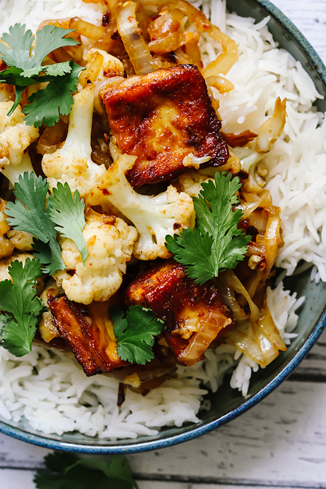 Spicy Cumin Tofu and Cauliflower Stir Fry