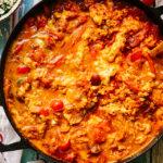 Scrambled Egg Red Shakshuka with Spicy Marinated Feta