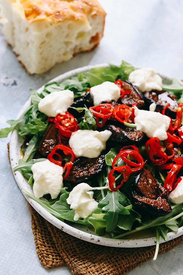 Caramelized Fig Salad with Arugula, Ricotta, and Shaoxing Vinaigrette