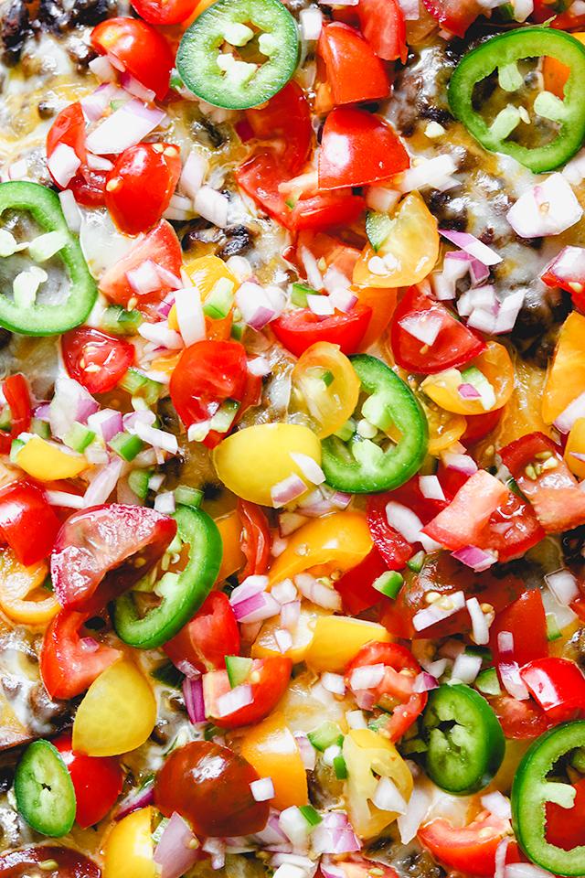 Sheet Pan Vegetarian Roasted Potato Nachos with Cherry Tomato Salsa