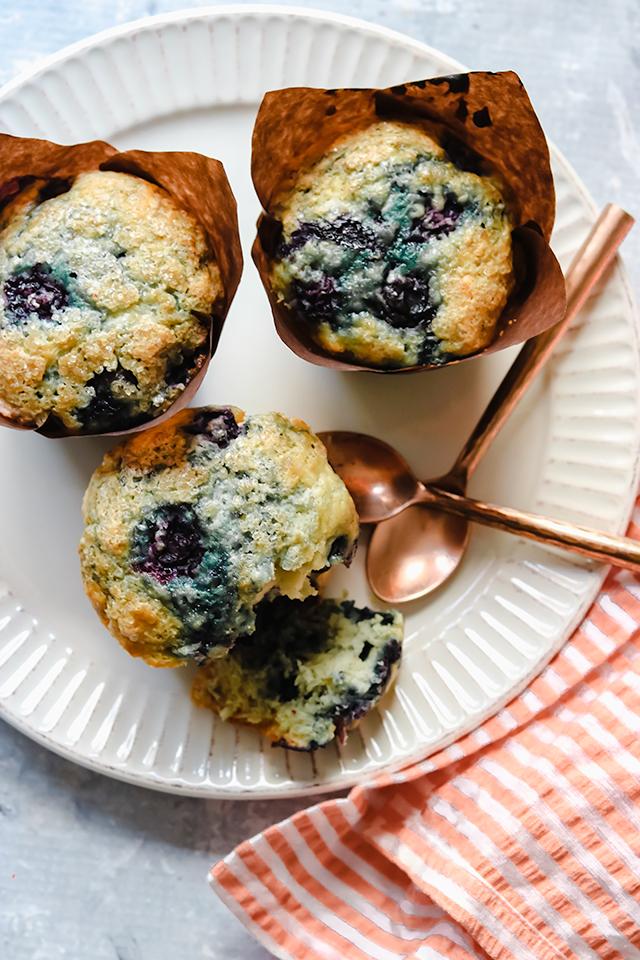 Sugar Crunch Blueberry Almond Muffins