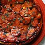 Caramelized Cherry Tomato, Potato, and Goat Cheese Tarte Tatin