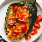 Cheesy Pinto Bean Stuffed Poblano Peppers