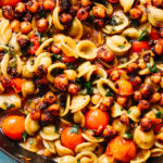 One Pot Orecchiette Puttanesca with Spiced Crispy Chickpeas